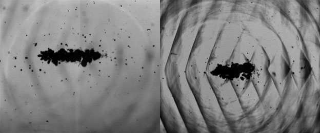 Shockwave in gel created with sonosensitizer imaged at 500.000 fps (Images taken by Prof. Umemura and Prof. Yoshizawa from Tohoku University in Japan)